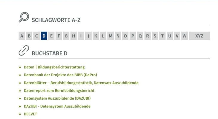Schnellzugang auf der Starteite www.bibb.de