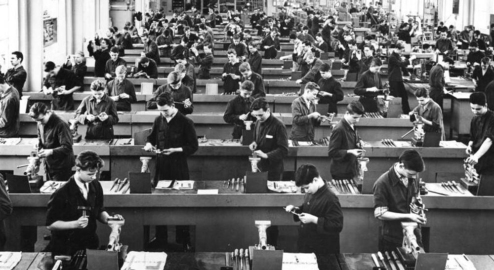 Lehrwerkstatt, AEG-Fabrik, Mühlheim-Saarn, ca. 1956