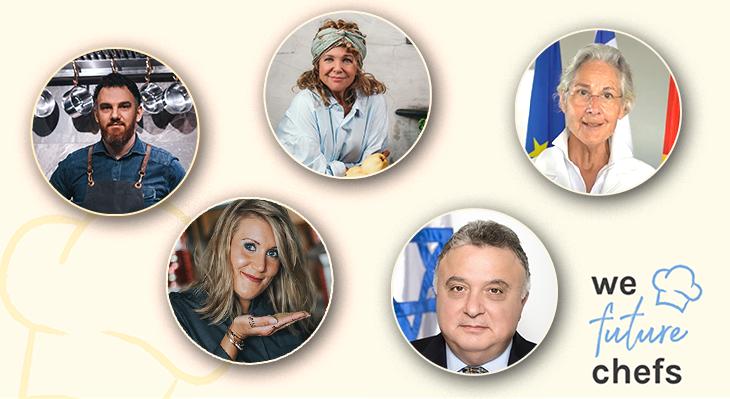 Key Visual We Future Chefs mit Fotos von Haya Molcho, René Frank und Dr. Susanne Wasum-Rainer