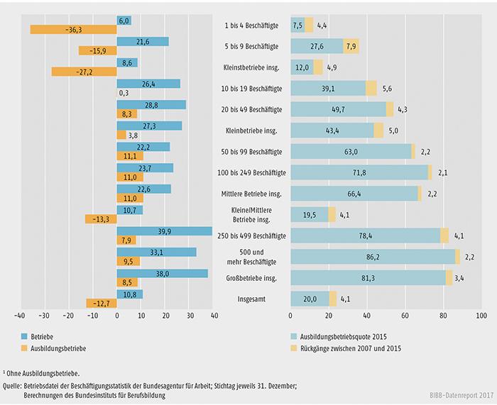 Schaubild A7.1-4: Entwicklung des Bestands an Betrieben und Ausbildungsbetrieben zwischen 2007 und 2015 (in %)