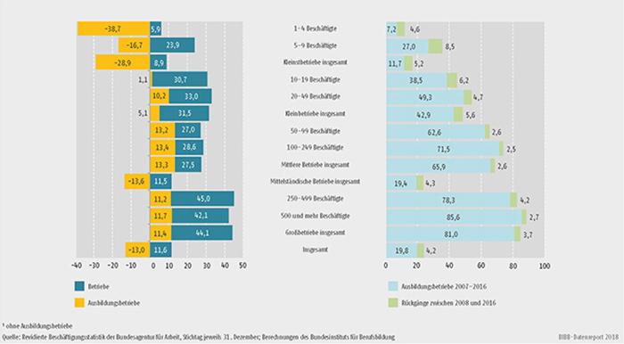 Schaubild A7.1-4: Entwicklung des Bestands an Betrieben und Ausbildungsbetrieben zwischen 2007 und 2016 (in %), Stand der Ausbildungsbetriebsquote 2016 (in %) und Rückgänge der Ausbildungsbetriebsquote zwischen 2007 und 2016 (in Prozentpunkten) (...)