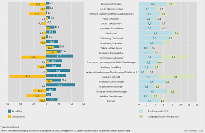 Schaubild A7.1-7: Entwicklung der Beschäftigten- und Auszubildendenbestände zwischen 2007 und 2016 (in %), Stand der Ausbildungsquote 2016 (in %) und Rückgänge der Ausbildungsquote zwischen 2007 und 2016 (in Prozentpunkten) (...)