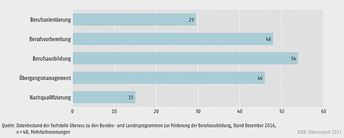 Schaubild A9.4.2-1: Handlungsfelder der Bundesprogramme zur Förderung der Berufsausbildung in % der Fälle