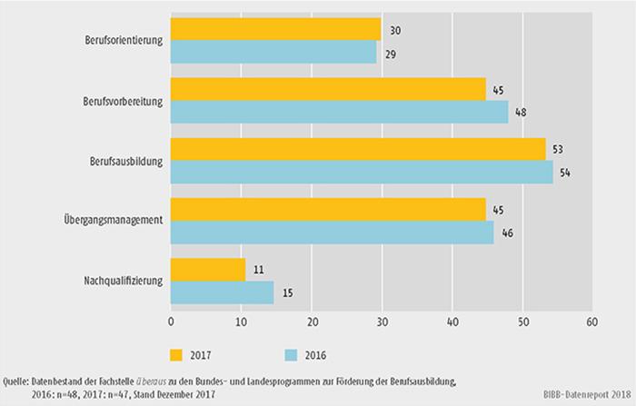 Schaubild A9.4.2-1: Handlungsfelder der Bundesprogramme zur Förderung der Berufsausbildung (Mehrfachnennungen in %)