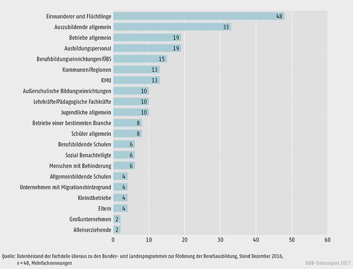 Schaubild A9.4.2-4: Adressaten der Angebote zur Förderung der Berufsausbildung in % der Bundesprogramme