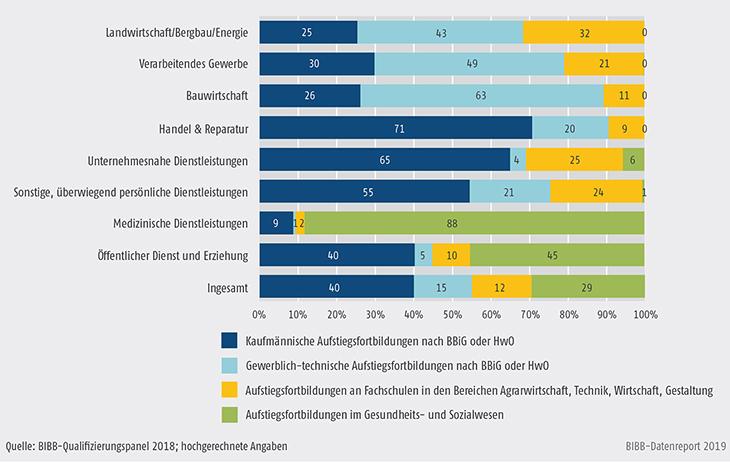 Schaubild B1.2.3-2: Verteilung der Teilnehmer/-innen an Aufstiegsfortbildungen im Jahr 2017 nach Fachrichtungen und Wirtschaftszweigen (in %)