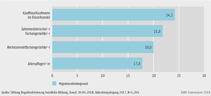 Schaubild B3.3.1-3: Berufe mit dem höchsten Anteil an Migranten und Migrantinnen 2017 (in %)