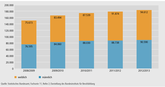 Schaubild B4.3-1: Entwicklung der Schüler/ -innen an Fachschulen 2008/2009 bis 2012/2013