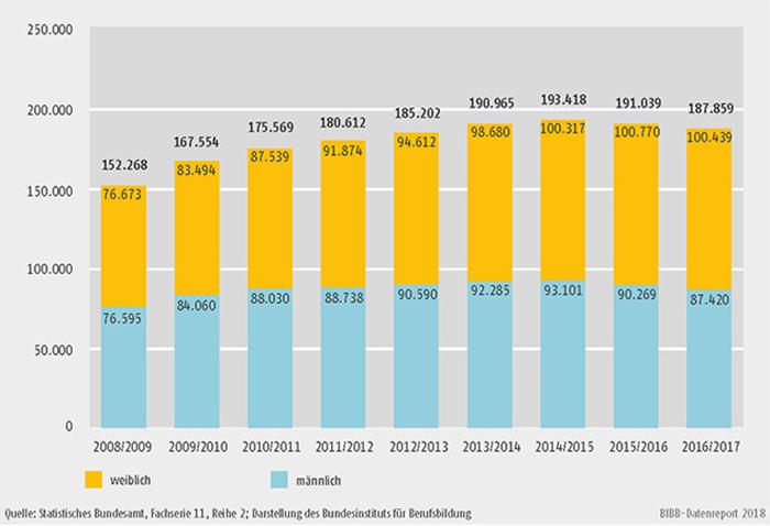 Schaubild B4.3-1: Entwicklung der Zahl der Schüler und Schülerinnen an Fachschulen 2008/2009 bis 2016/2017