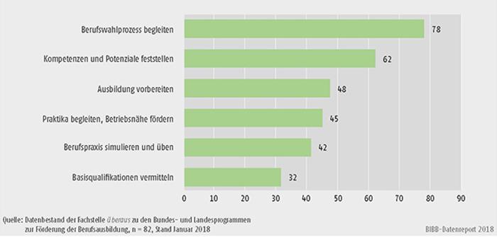 Schaubild C2.1-2: Häufigste Anliegen der Berufsorientierungsprogramme (Mehrfachnennungen in %)