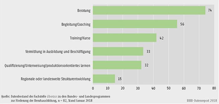 Schaubild C2.1-3: Im Rahmen der Berufsorientierungsprogramme am häufigsten geplante/realisierte Angebote (Mehrfachnennungen in %)