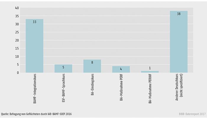 Schaubild C3.1-1: Teilnahme an Angeboten zum Erlernen der deutschen Sprache (Anteile in %, Mehrfachnennungen)