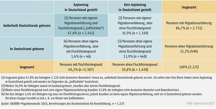 """Schaubild C4.1-1: """"Fluchthintergrund"""" und """"Migrationserfahrung"""" der befragten nichtdeutschen Bewerber/-innen"""