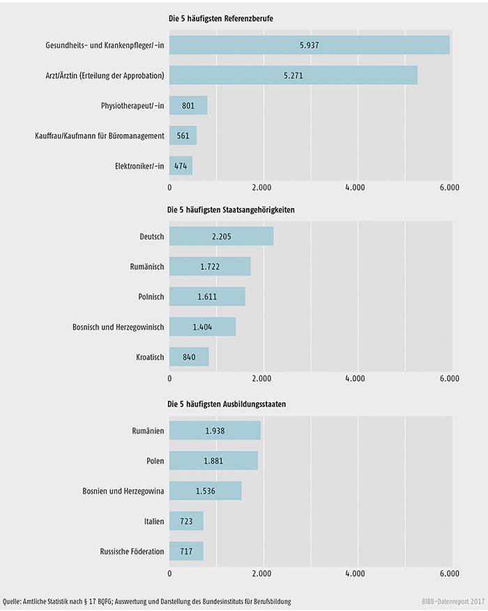 Schaubild D4-2: Anzahl der Anträge bei den häufigsten Referenzberufen, Staatsangehörigkeiten und Ausbildungsstaaten im Jahr 2015