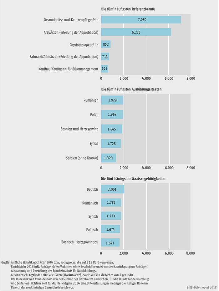Schaubild D4-3: Anzahl der Anträge bei den 5 häufigsten Referenzberufen, Ausbildungsstaaten und Staatsangehörigkeiten im Jahr 2016