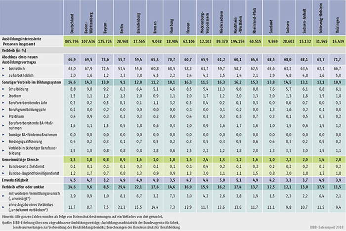 Tabelle A1.1.3-1: Verbleib der ausbildungsinteressierten Personen im Jahr 2017 nach Ländern