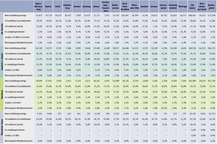 Tabelle A1.2-4: Neu abgeschlossene Ausbildungsverträge 2017 nach strukturellen Merkmalen (Anteil in %) (Teil 2)