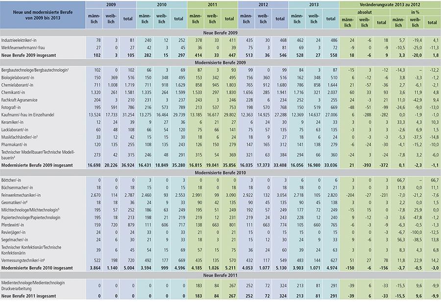Tabelle A1.2-6: Neu abgeschlossene Ausbildungsverträge in den seit 2009 neu erlassenen oder modernisierten Berufen in Deutschland (Teil 1)