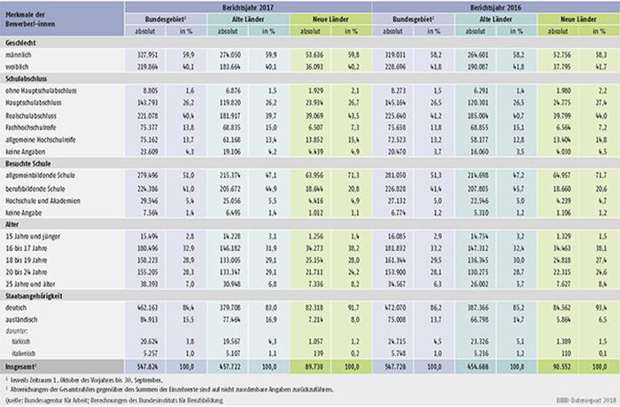 Tabelle A1.3-2: Geschlecht, Schulabschluss, besuchte Schule, Alter und Staatsangehörigkeit der bei den Arbeitsagenturen und Jobcentern gemeldeten Bewerber/-innen der Berichtsjahre 2017 und 2016