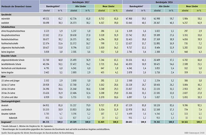 Tabelle A1.3-5: Unvermittelte Bewerber/-innen nach Geschlecht, Schulabschluss, besuchter Schule, Alter und Staatsangehörigkeit in den Berichtsjahren 2017 und 2016