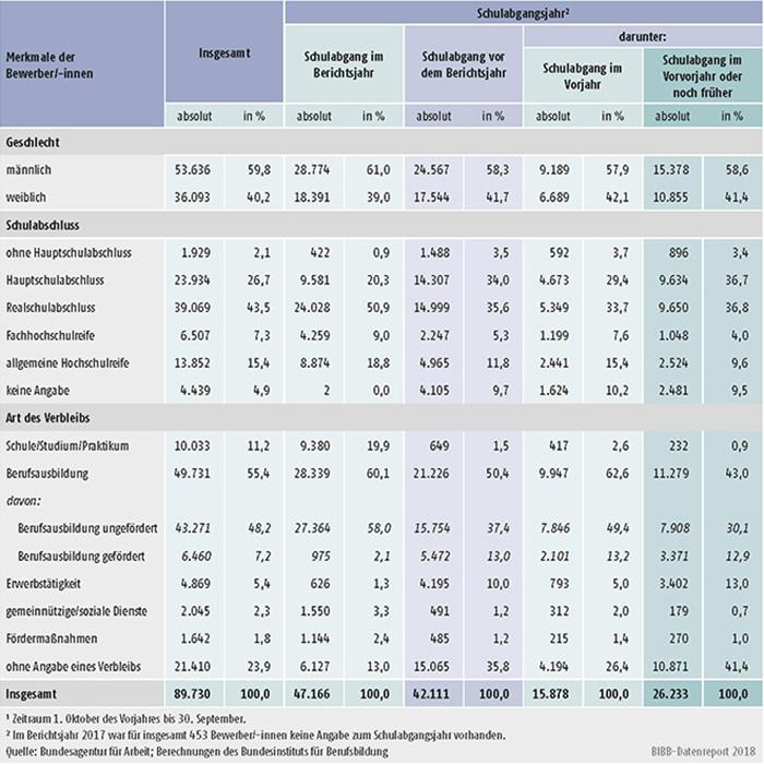 Tabelle A1.3-9: Geschlecht, Schulabschluss und Verbleib der im Berichtsjahr 20171 bei den Arbeitsagenturen und Jobcentern gemeldeten Bewerber/-innen nach Schulabgangsjahr – neue Länder