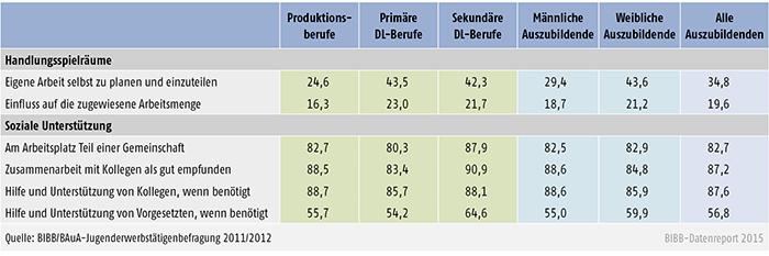 Tabelle A 4.11-3: Häufig vorliegende Handlungsspielräume und soziale Unterstützung bei Auszubildenden nach Berufsfeld und Geschlecht (in %)
