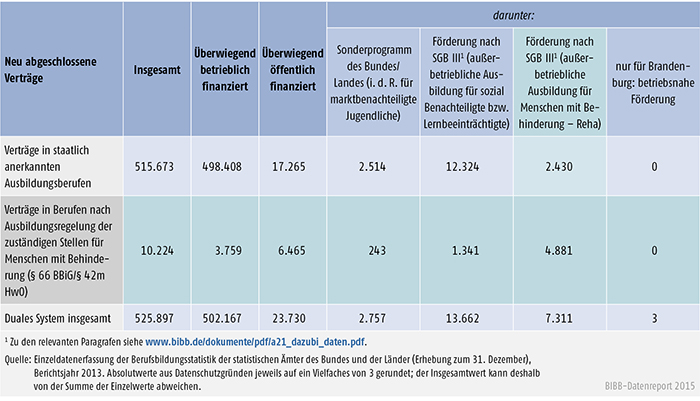 Tabelle A 4.4-6: Staatlich anerkannte Ausbildungsberufe und Ausbildungsregelungen der zuständigen Stellen für Menschen mit Behinderung (§ 66 BBiG/§ 42m HwO) nach Art der Förderung, Berichtsjahr 2013