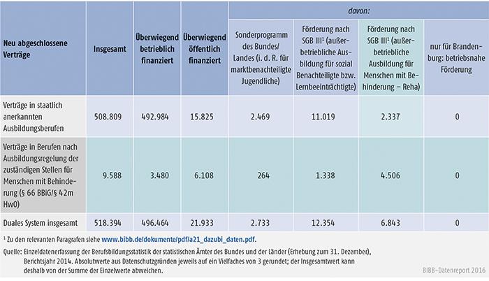Tabelle A4.4-6: Staatlich anerkannte Ausbildungsberufe und Ausbildungsregelungen der zuständigen Stellen für Menschen mit Behinderung (§ 66 BBiG/§ 42m HwO) nach Art der Förderung, Berichtsjahr 2014