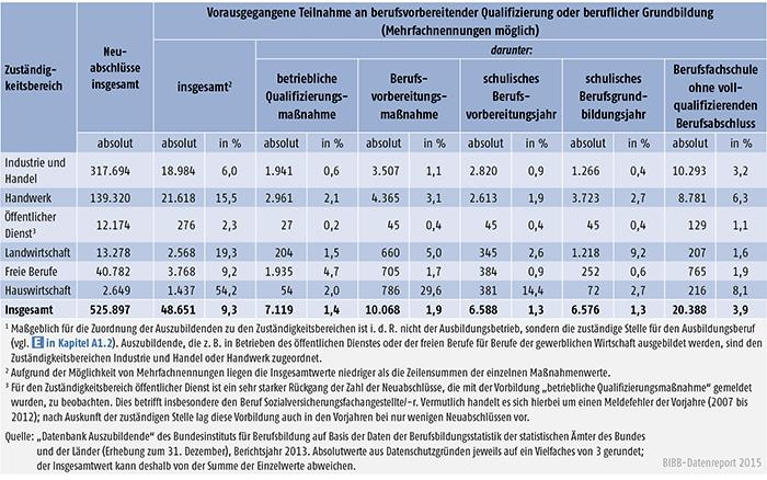 Tabelle A 4.6.2-1: Vorausgegangene Teilnahme an berufsvorbereitender Qualifizierung oder beruflicher Grundbildung nach Zuständigkeitsbereichen, Bundesgebiet 2013