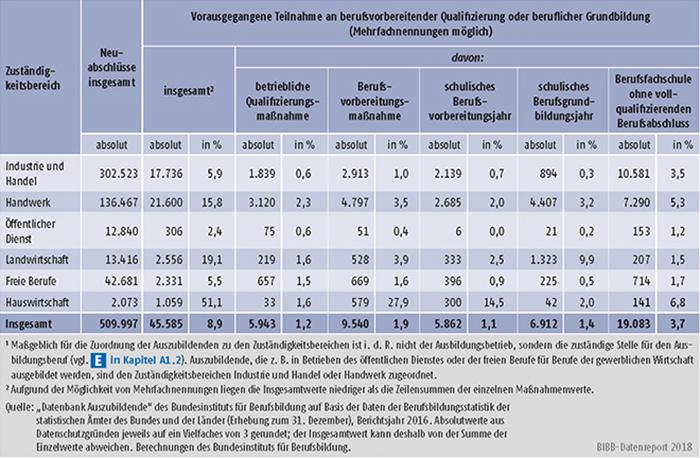 Tabelle A5.5.2-1: Vorausgegangene Teilnahme an berufsvorbereitender Qualifizierung oder beruflicher Grundbildung nach Zuständigkeitsbereichen, Bundesgebiet 2016