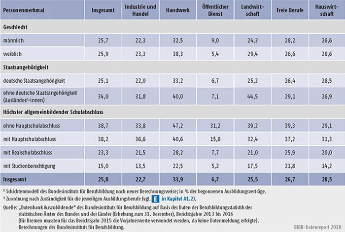 Tabelle A5.6-3: Vertragslösungsquoten (LQneu in %) nach Personenmerkmalen und Zuständigkeitsbereichen, Bundesgebiet 2016