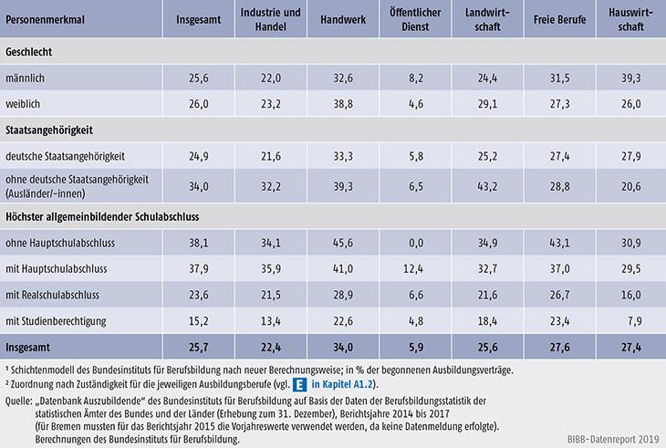 Tabelle A5.6-3: Vertragslösungsquoten (LQneu in %) nach Personenmerkmalen und Zuständigkeitsbereichen, Bundesgebiet 2017