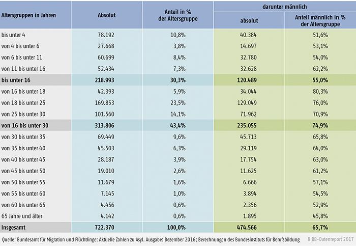 Tabelle C2-1: Alter und Geschlecht der Asylerstantragsteller/-innen 2016