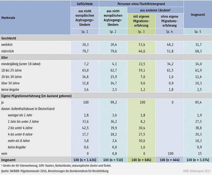 Tabelle C4.1-1: Merkmale der Untersuchungsgruppe der befragten nichtdeutschen Bewerber/-innen (Angaben in %)
