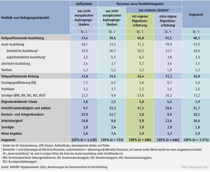 Tabelle C4.1-3: Verbleibe der befragten nichtdeutschen Bewerber/-innen zum Befragungszeitpunkt (Angaben in %)