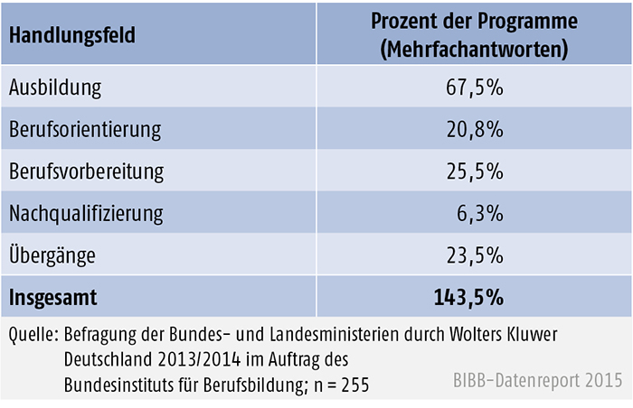 Programm nach Handlungsfeldern (in %)