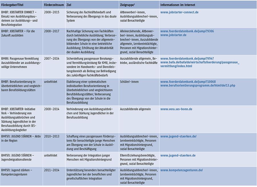 Auswahl relevanter Förderinitiativen und Sonderprogramme des Bundes für den Förderbereich Übergang Schule - Beruf 2013/2014 (Teil 1)