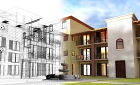 Ein großes Haus in mediterranem Baustil wird zur Hälfte als Bauzeichnung und zur Hälfte als fertiges Gebäude dargestellt.