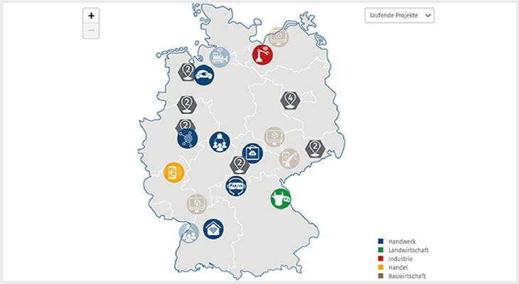 Interaktive Projektlandkarte online