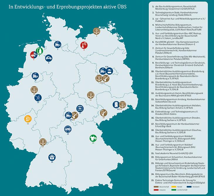 Deutschlandkarte mit Icons an den Standorten, an denen geförderte ÜBS arbeiten.