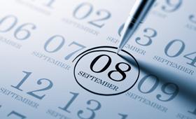 Kalenderblatt mit markiertem Datum 8. September